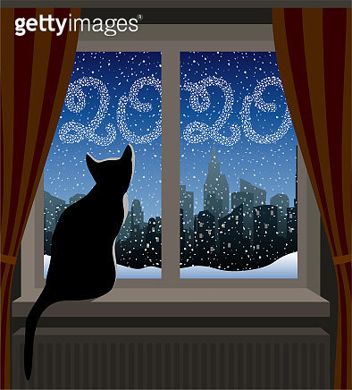 Cat Looking at Winter City. New Year 2020 - gettyimageskorea