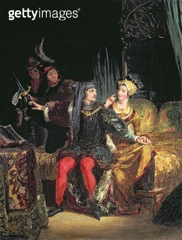 <b>Title</b> : Charles VI (1380-1422) and Odette de Champdivers, c.1824-26 (oil on canvas)<br><b>Medium</b> : oil on canvas<br><b>Location</b> : Private Collection<br> - gettyimageskorea