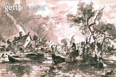 Flatford Old Mill Cottage on the Stour/ pen and wash - gettyimageskorea