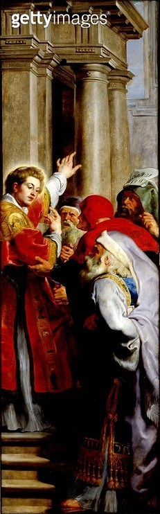 <b>Title</b> : St. Stephen Preaching, from the Triptych of St. Stephen (oil on panel)Additional InfoSaint Etienne disputant contre les docteurs<br><b>Medium</b> : oil on panel<br><b>Location</b> : Musee des Beaux-Arts, Valenciennes, France<br> - gettyimageskorea