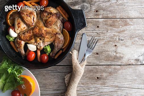 Chicken fried in a pan - gettyimageskorea