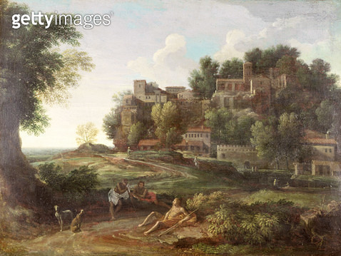 An Italianate wooded landscape with figures resting on a path and a town beyond - gettyimageskorea