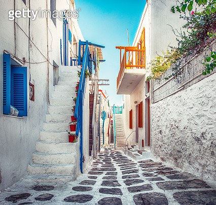 Colorful Street of Mykonos, Greece - gettyimageskorea