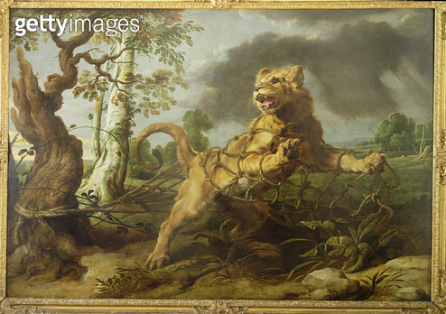 <b>Title</b> : The Lion and the Mouse (oil on canvas)Additional InfoChurchill 'highlighted' the mouse which was difficult to see, but that has<br><b>Medium</b> : <br><b>Location</b> : By Kind Permission of The Trustees of the Chequers Estate<br> - gettyimageskorea