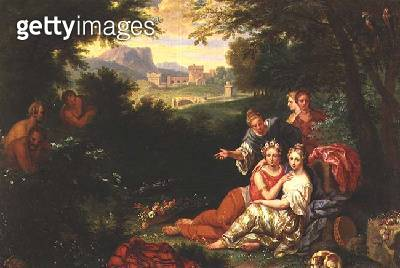 A classical wooded landscape with satyrs and nymphs - gettyimageskorea