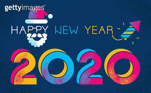 Vibrant New Year 2020 greeting card with decorated typography. - gettyimageskorea