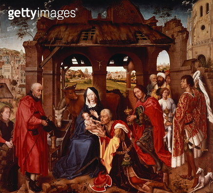 The Adoration of the Magi, c.1455 (oak panel) - gettyimageskorea