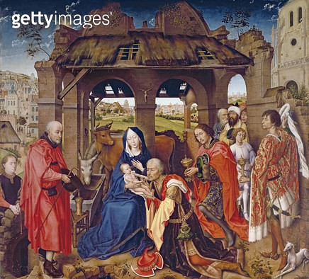 <b>Title</b> : The Adoration of the Magi, c.1455 (oak panel)<br><b>Medium</b> : tempera on oak panel<br><b>Location</b> : Alte Pinakothek, Munich, Germany<br> - gettyimageskorea