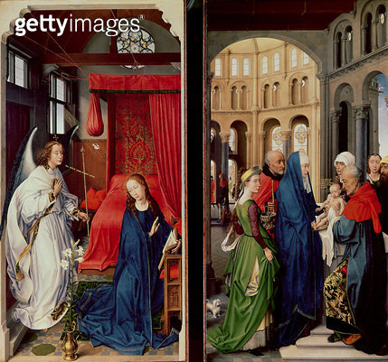 <b>Title</b> : The Annunciation and the Presentation in the Temple (oil on panel)<br><b>Medium</b> : oil on panel<br><b>Location</b> : Alte Pinakothek, Munich, Germany<br> - gettyimageskorea
