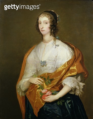 <b>Title</b> : Queen Henrietta Maria (1609-69) (oil on canvas)<br><b>Medium</b> : oil on canvas<br><b>Location</b> : Trustees of Leeds Castle Foundation, Maidstone, Kent, UK<br> - gettyimageskorea