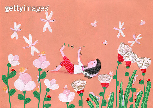 girl playing in the garden with aunts. illustration - gettyimageskorea