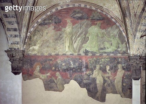 <b>Title</b> : The Creation of the Animals and of Adam (upper section) the Creation of Eve and the Original Sin (lower section) lunette (fresco<br><b>Medium</b> : fresco<br><b>Location</b> : Santa Maria Novella, Florence, Italy<br> - gettyimageskorea