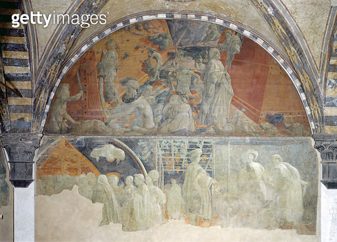 <b>Title</b> : The Flood and the Subsidence of the Waters (upper section) The Sacrifice and Drunkenness of Noah (lower section) lunette (fresco<br><b>Medium</b> : fresco<br><b>Location</b> : Santa Maria Novella, Florence, Italy<br> - gettyimageskorea