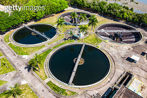 Sewage treatment plant - high-angle view - gettyimageskorea