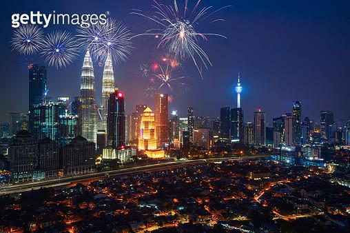 Fireworks over Kuala Lumpur city - gettyimageskorea