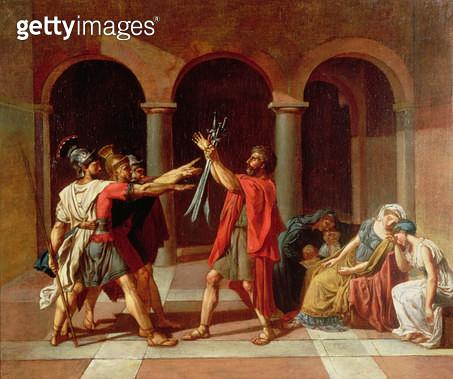 <b>Title</b> : The Oath of the Horatii<br><b>Medium</b> : <br><b>Location</b> : Private Collection<br> - gettyimageskorea