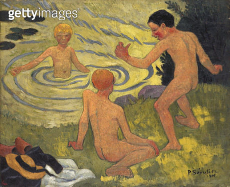 <b>Title</b> : Boys on a Riverbank, 1906 (oil on canvas)<br><b>Medium</b> : oil on canvas<br><b>Location</b> : National Gallery of Victoria, Melbourne, Australia<br> - gettyimageskorea