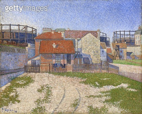 <b>Title</b> : Gasometers at Clichy, 1886 (oil on canvas)<br><b>Medium</b> : oil on canvas<br><b>Location</b> : National Gallery of Victoria, Melbourne, Australia<br> - gettyimageskorea