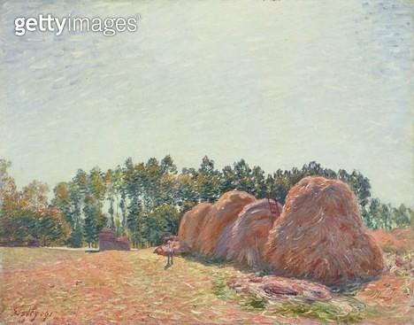<b>Title</b> : Haystacks at Moret, Morning Light, 1891 (oil on canvas)<br><b>Medium</b> : oil on canvas<br><b>Location</b> : National Gallery of Victoria, Melbourne, Australia<br> - gettyimageskorea