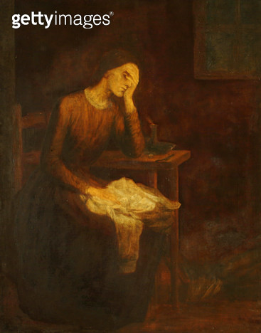 <b>Title</b> : The Seamstress or The Song of the Shirt, 1850 (oil on canvas) (b/w photo)<br><b>Medium</b> : oil on canvas<br><b>Location</b> : Trustees of the Watts Gallery, Compton, Surrey, UK<br> - gettyimageskorea