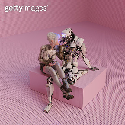 Futuristic young woman shares an intimate moment with a robot - gettyimageskorea