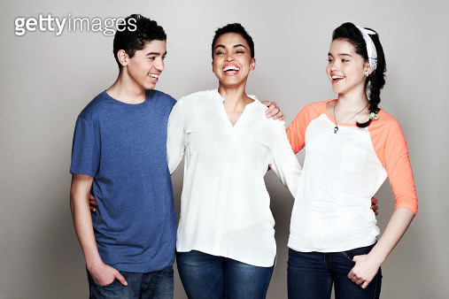 Portrait of mother with son and daughter - gettyimageskorea