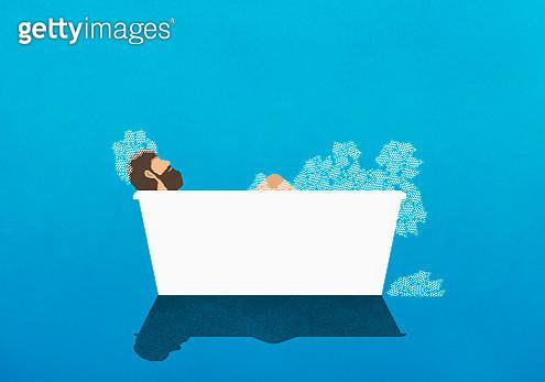Man enjoying bubble bath - gettyimageskorea