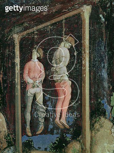 <b>Title</b> : St. George and the Princess of Trebizond, detail of two hanging men from the left hand side, c.1433-38 (fresco)<br><b>Medium</b> : fresco<br><b>Location</b> : Sant' Anastasia, Verona, Italy<br> - gettyimageskorea