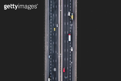Aerial image directly above a highway crossing over a river, Amsterdam, Netherlands - gettyimageskorea