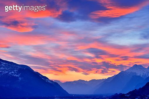 Swiss Alps's Valley at Dramatic Sky, Switzerland - gettyimageskorea