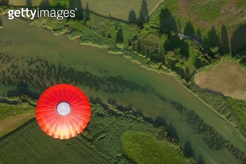 Bavaria, Germany, balloon trip over green landscapes, aerial view - gettyimageskorea