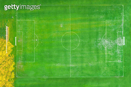 Soccer field or football ground. Aerial view, directly above. Drone view. - gettyimageskorea
