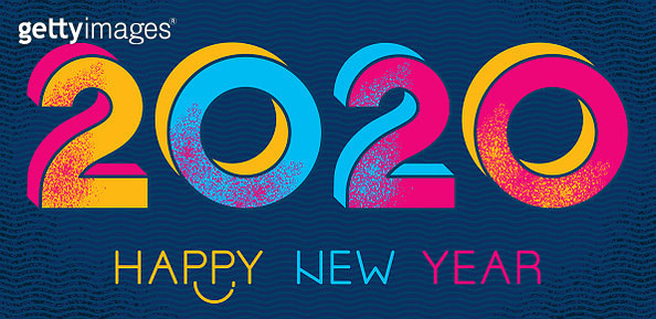 Vibrant vector 2020 Happy New Year greeting card. - gettyimageskorea