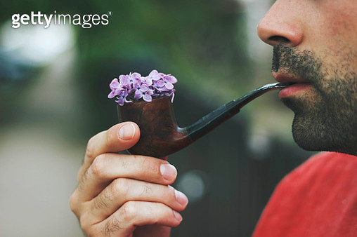 Man holding smoking pipe filled with violet flowers - gettyimageskorea