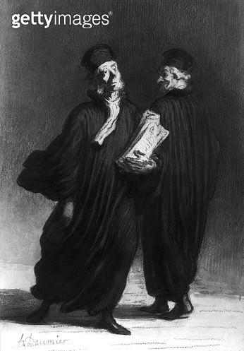 <b>Title</b> : Two Lawyers, c.1862 (watercolour & pencil on paper) (b/w photo)<br><b>Medium</b> : watercolour and pencil on paper<br><b>Location</b> : Musee d'Art et d'Histoire, Saint-Denis, France<br> - gettyimageskorea
