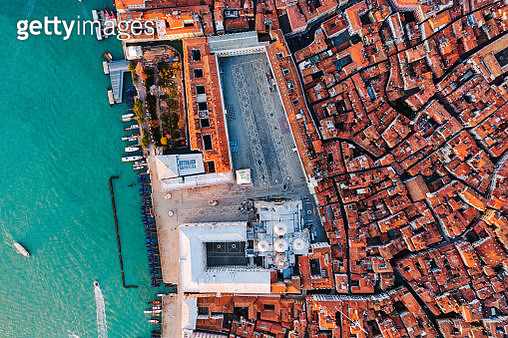 Overhead view of St Mark's square, Venice, Italy - gettyimageskorea