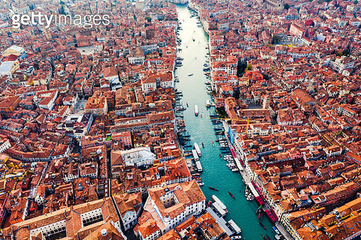 Aerial of Grand Canal at sunset, Venice, Italy - gettyimageskorea