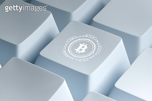 bitcoin on keyboard,3d render - gettyimageskorea