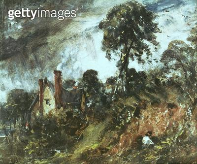 <b>Title</b> : Cottage among Trees with a Sandbank, c.1830-36 (oil on canvas)<br><b>Medium</b> : <br><b>Location</b> : Victoria & Albert Museum, London, UK<br> - gettyimageskorea