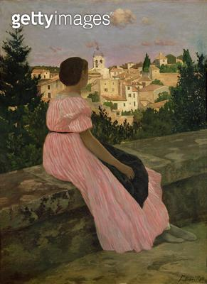 <b>Title</b> : The Pink Dress, or View of Castelnau-le-Lez, Herault, 1864 (oil on canvas)Additional InfoVue de Castelnau le Lez; portrait of Th<br><b>Medium</b> : oil on canvas<br><b>Location</b> : Musee d'Orsay, Paris, France<br> - gettyimageskorea