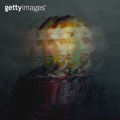 Multiple Exposure Of Young Man Standing Colored Background - gettyimageskorea