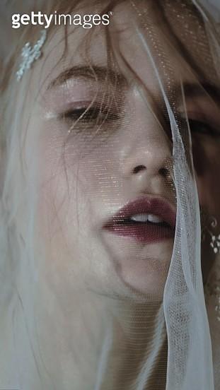 Close-Up Portrait Of Bride Wearing Veil - gettyimageskorea