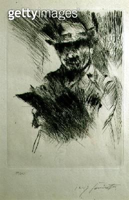 <b>Title</b> : Self Portrait, c.1920-21 (drypoint)<br><b>Medium</b> : drypoint<br><b>Location</b> : Wolseley Fine Arts, London, UK<br> - gettyimageskorea