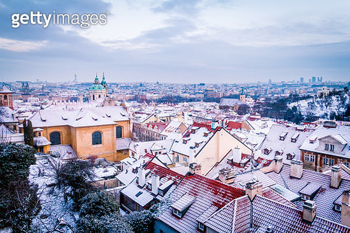 Snow In Prague - gettyimageskorea