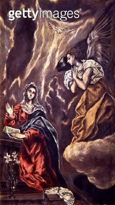 <b>Title</b> : The Annunciation (oil on canvas)<br><b>Medium</b> : oil on canvas<br><b>Location</b> : Museo de Santa Cruz, Toledo, Spain<br> - gettyimageskorea