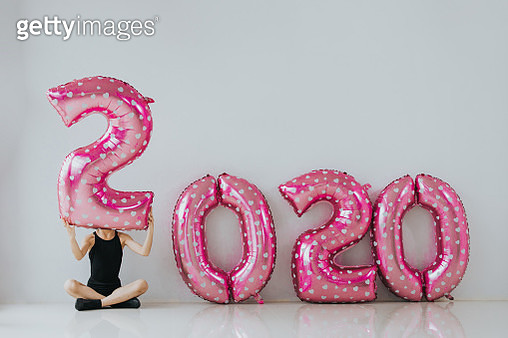 Hiding, carry, balloon, new year, 2020, wishing, happiness - gettyimageskorea