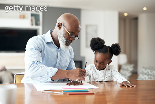 Grandpa is helping me with my first assignment - gettyimageskorea