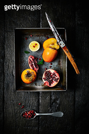 Different types of cut fruits on a tray - gettyimageskorea
