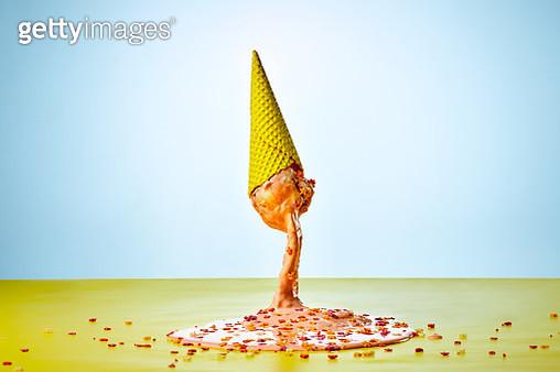 Melting ice cream cone - gettyimageskorea