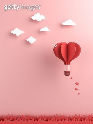 Origami made hot air balloon and cloud - gettyimageskorea